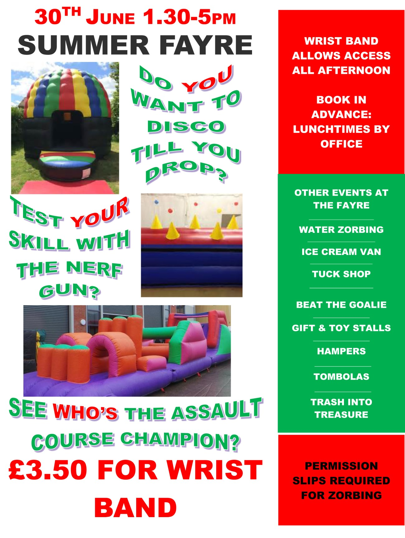 summer fayre inflatables display poster